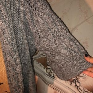 sisters Sweaters - Sisters Gray Knit Thick Wool Cardigan